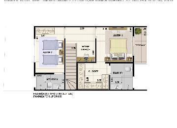 Imóvel com 2 Dormitórios, sendo 1 Suíte, 1 Banheiro: no andar superior, Sala de Estar, Cozinha, Área de Serviço, Quintal: pequeno, 1 Garagem: coberta. Acabamento : teto laje e piso frio.